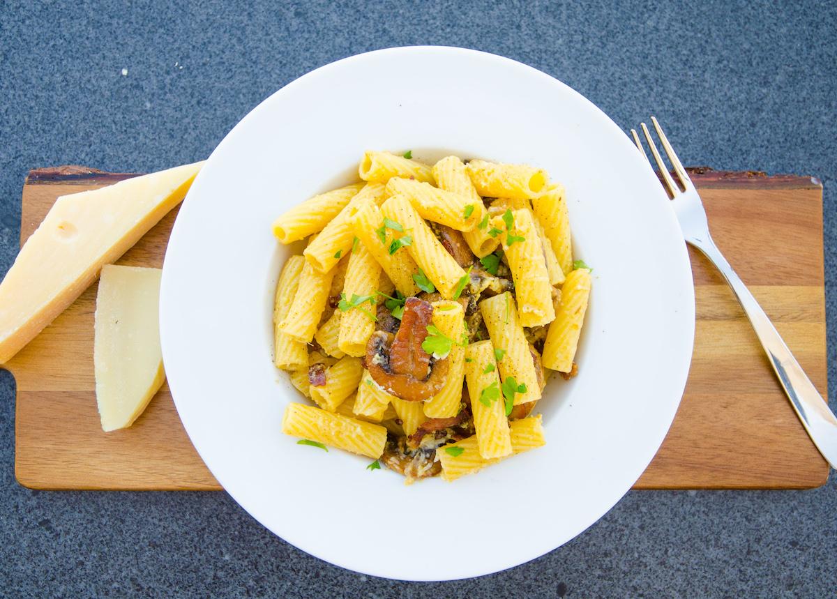 Pasta carbonara med svamp