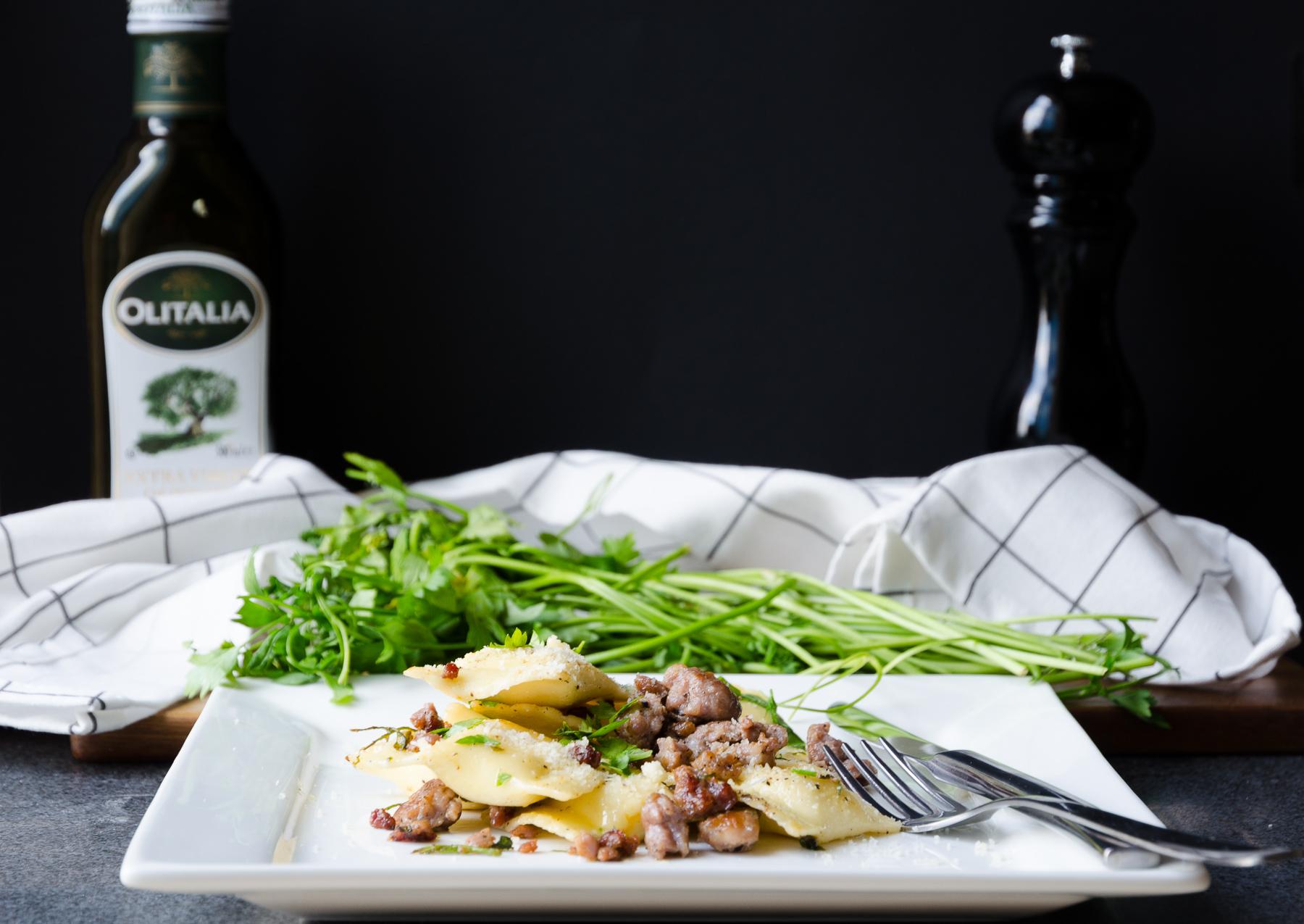 Ravioli med ricotta och korv