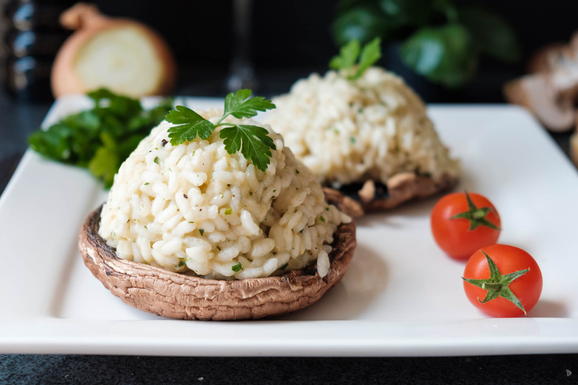 Fylld portobello risotto
